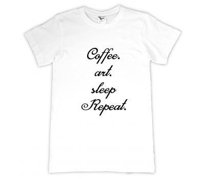Tricou personalizat Coffee-Art-Sleep-Repeat