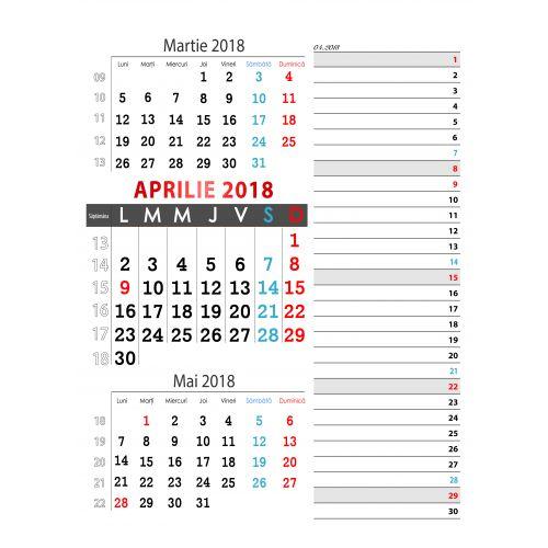Calendar de perete triptic si planner 2018