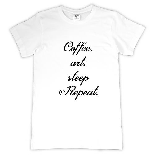 Tricou personalizat Coffee-Art-Sleep-Repeat
